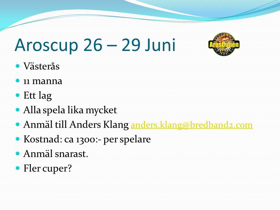 Aroscup 26 – 29 Juni Västerås 11 manna Ett lag Alla spela lika mycket