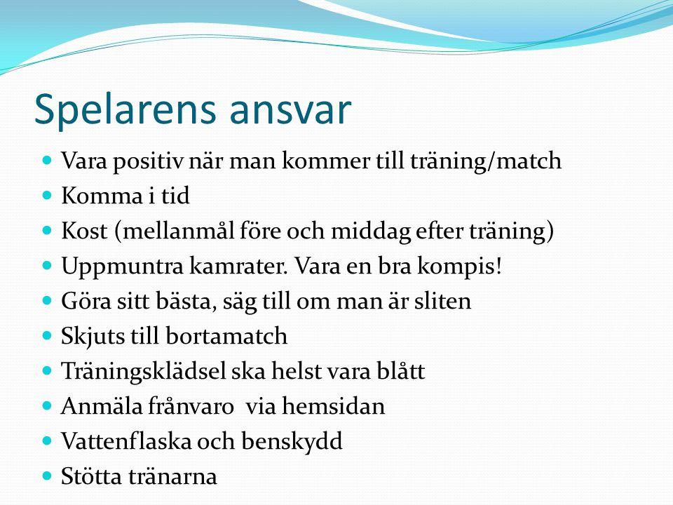 Spelarens ansvar Vara positiv när man kommer till träning/match