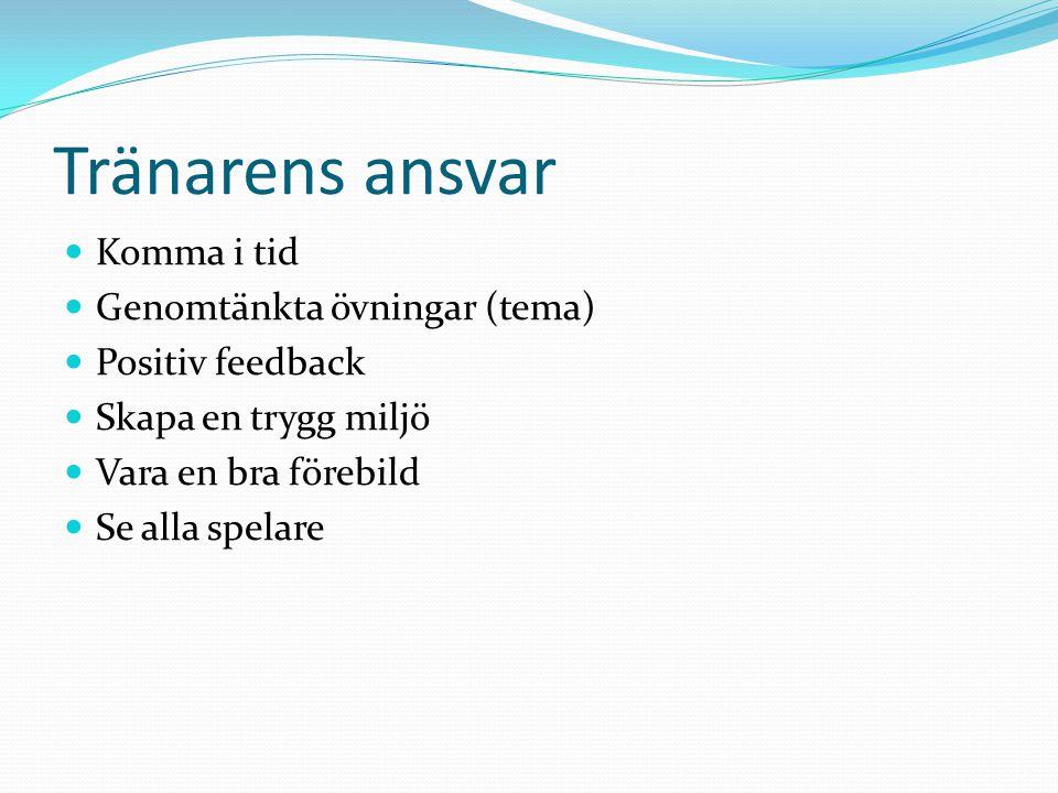 Tränarens ansvar Komma i tid Genomtänkta övningar (tema)