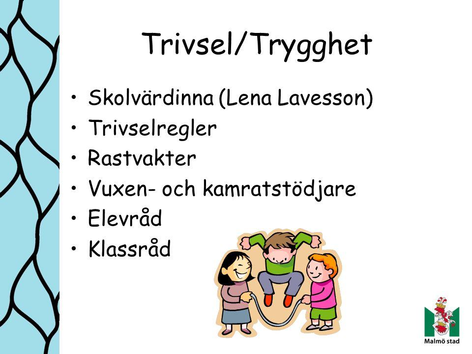 Trivsel/Trygghet Skolvärdinna (Lena Lavesson) Trivselregler Rastvakter