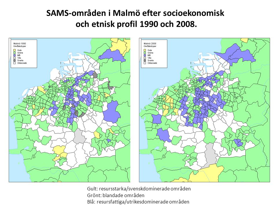 SAMS-områden i Malmö efter socioekonomisk