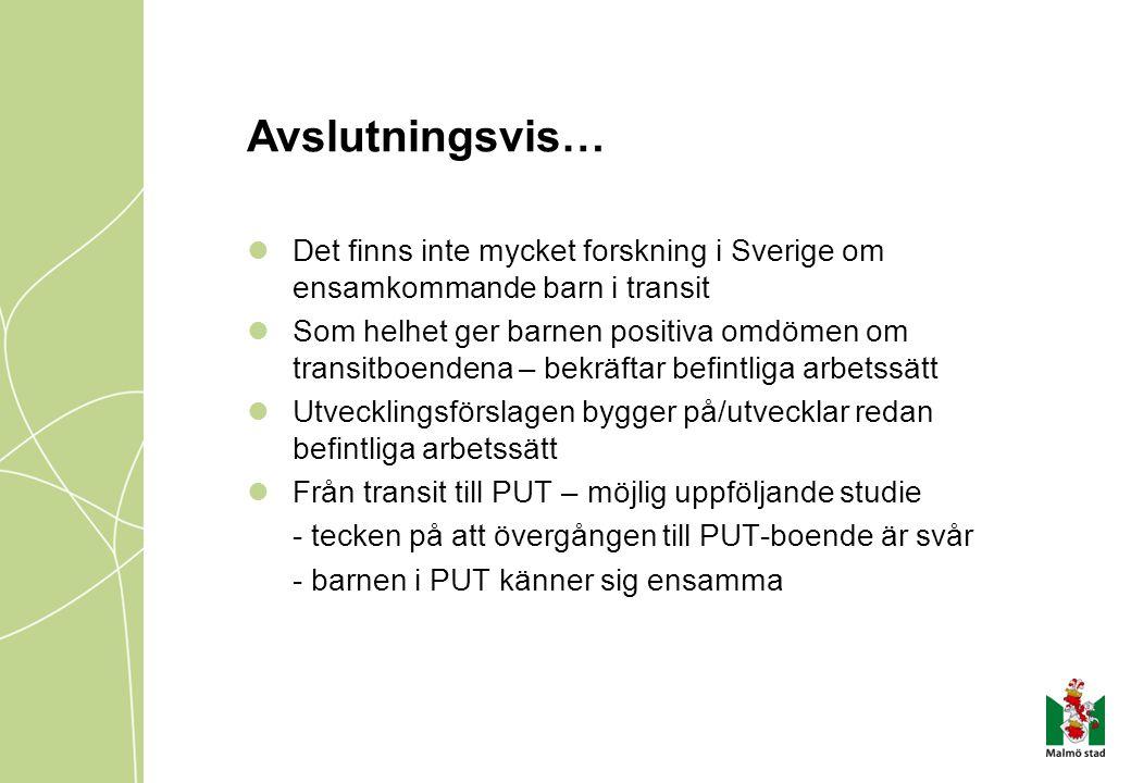 Avslutningsvis… Det finns inte mycket forskning i Sverige om ensamkommande barn i transit.