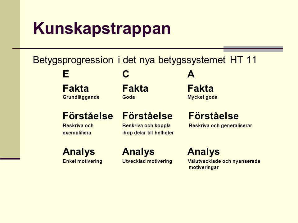 Kunskapstrappan Betygsprogression i det nya betygssystemet HT 11 E C A