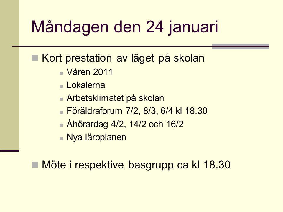 Måndagen den 24 januari Kort prestation av läget på skolan