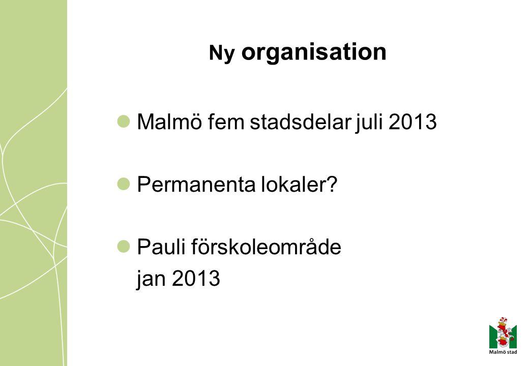 Malmö fem stadsdelar juli 2013 Permanenta lokaler