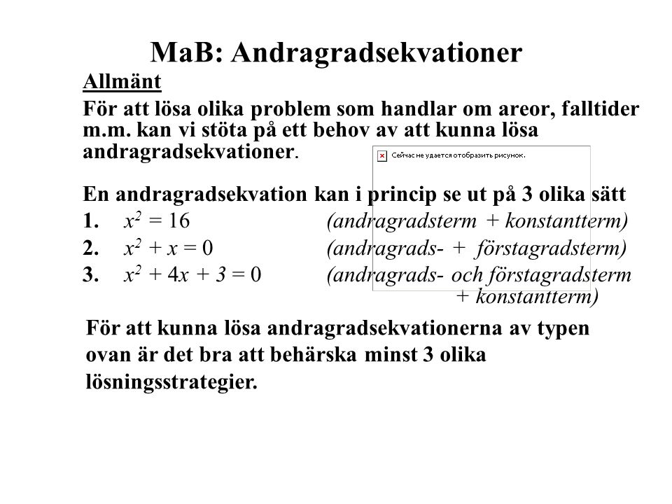 MaB: Andragradsekvationer