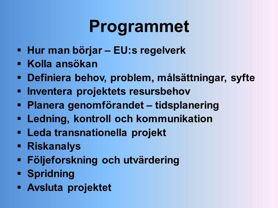 Programmet Hur man börjar – EU:s regelverk Kolla ansökan
