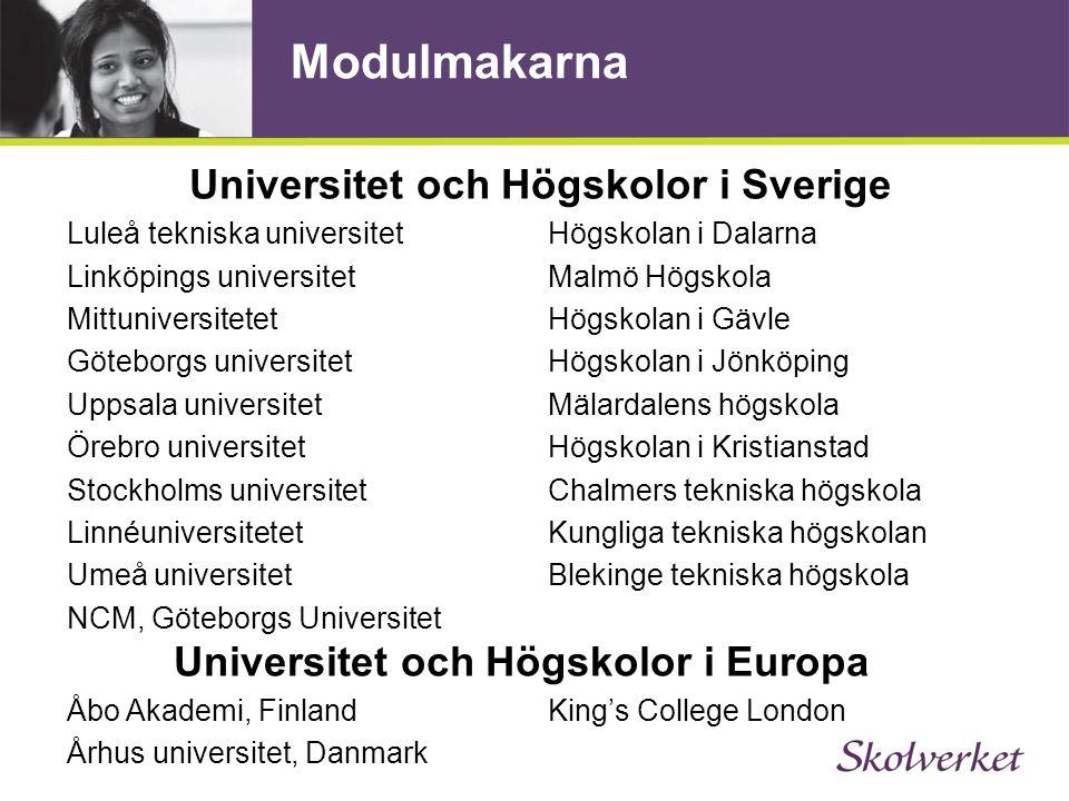 Universitet och Högskolor i Sverige