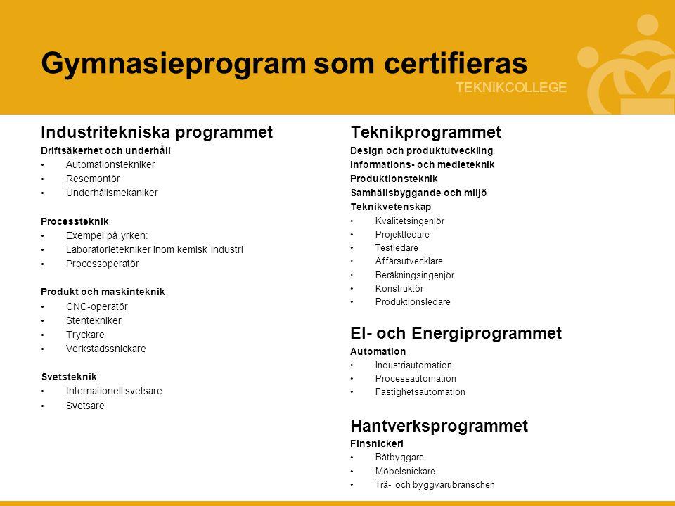 Gymnasieprogram som certifieras