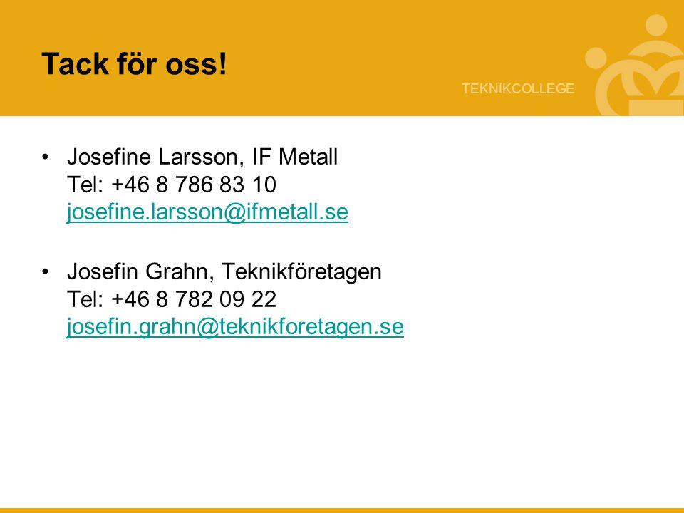 Tack för oss! Josefine Larsson, IF Metall Tel: +46 8 786 83 10 josefine.larsson@ifmetall.se.