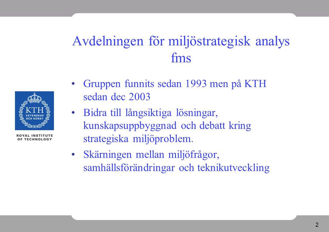 Avdelningen för miljöstrategisk analys fms