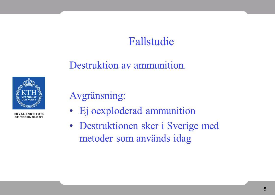 Fallstudie Destruktion av ammunition. Avgränsning: