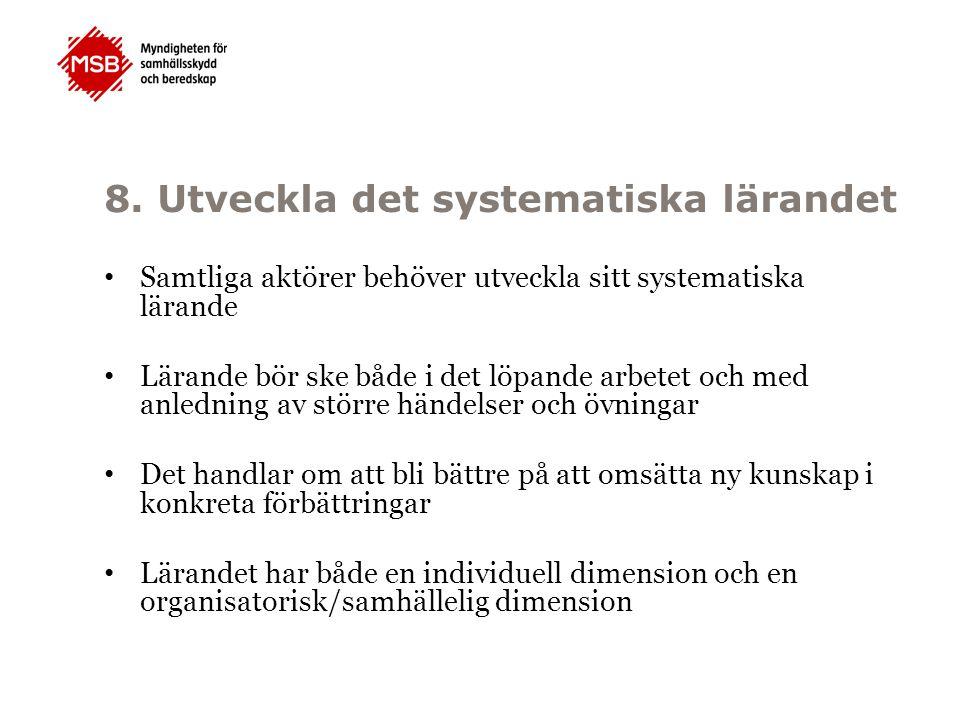 8. Utveckla det systematiska lärandet