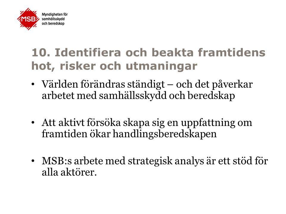10. Identifiera och beakta framtidens hot, risker och utmaningar