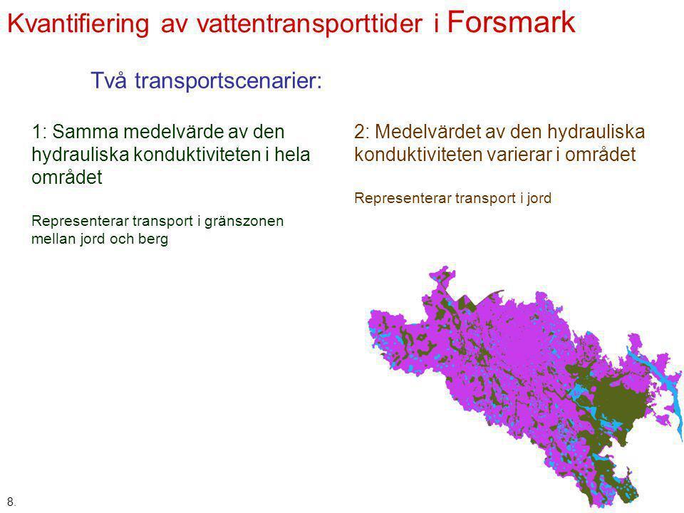 Kvantifiering av vattentransporttider i Forsmark