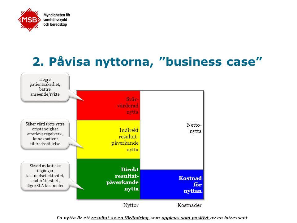 2. Påvisa nyttorna, business case