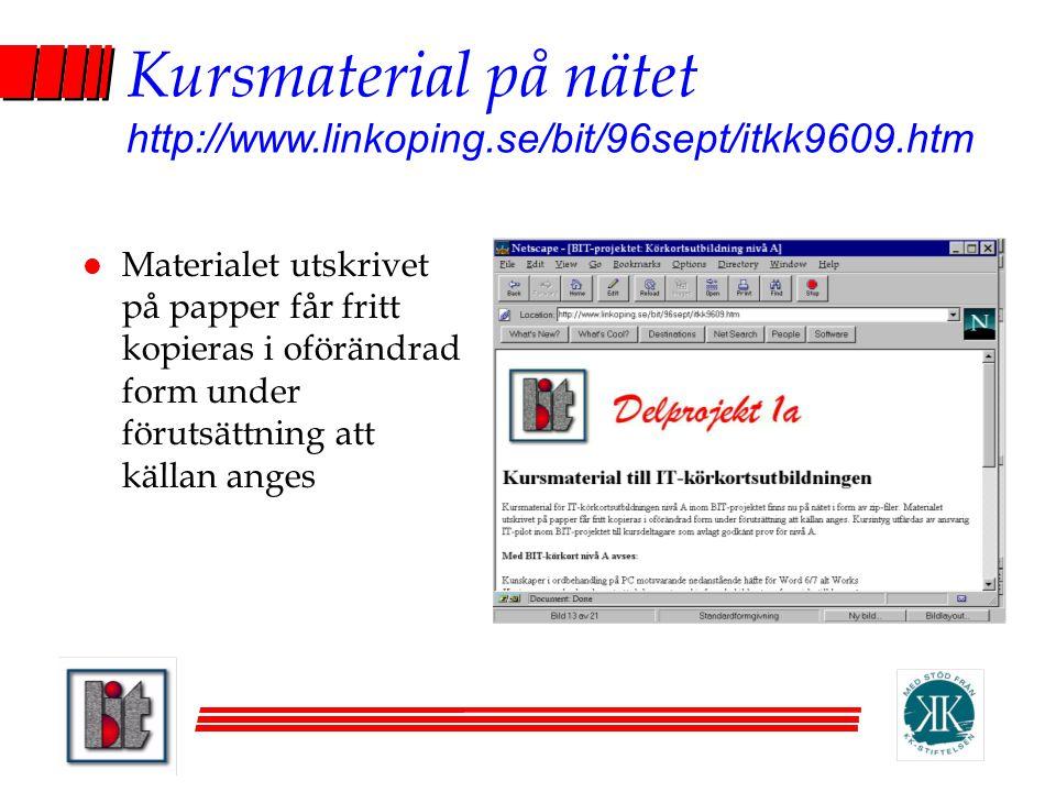 Kursmaterial på nätet http://www.linkoping.se/bit/96sept/itkk9609.htm
