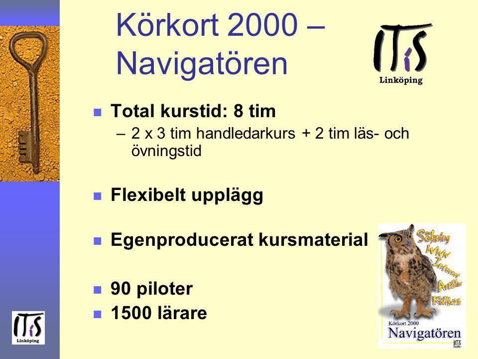 Körkort 2000 – Navigatören Total kurstid: 8 tim Flexibelt upplägg