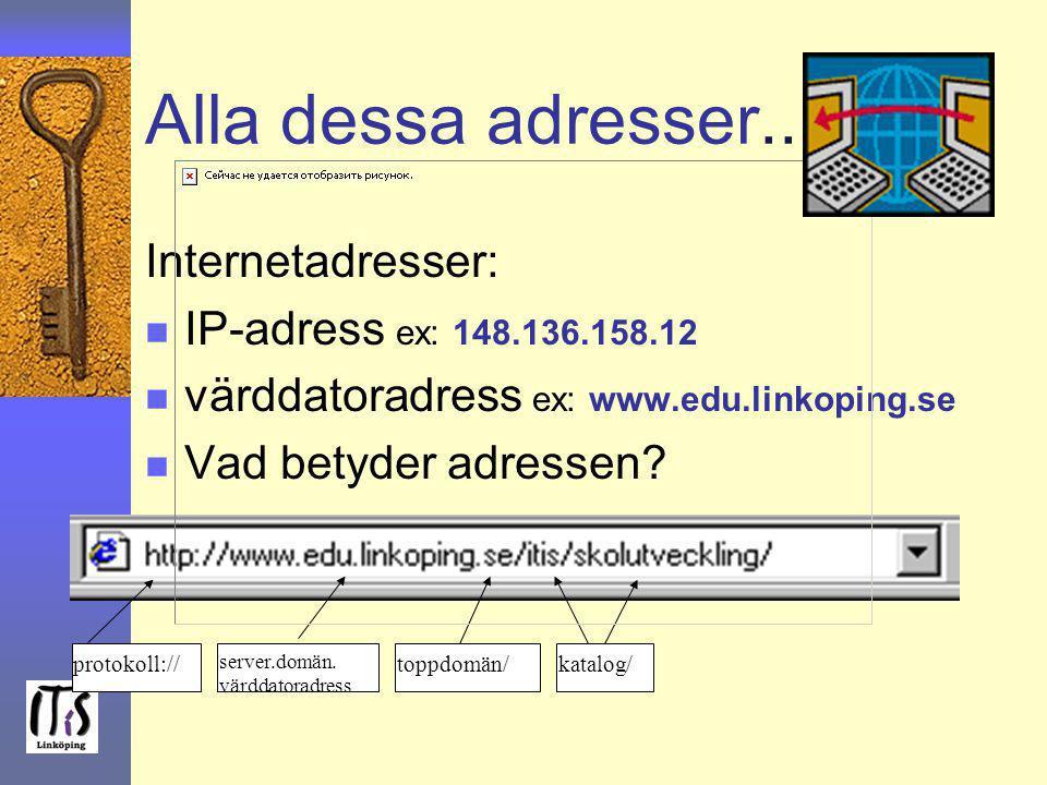 Alla dessa adresser... Internetadresser: IP-adress ex: 148.136.158.12