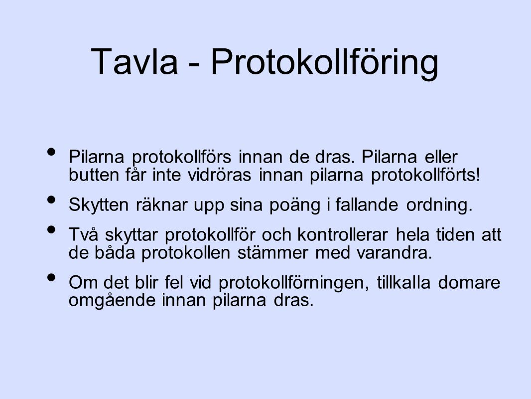 Tavla - Protokollföring