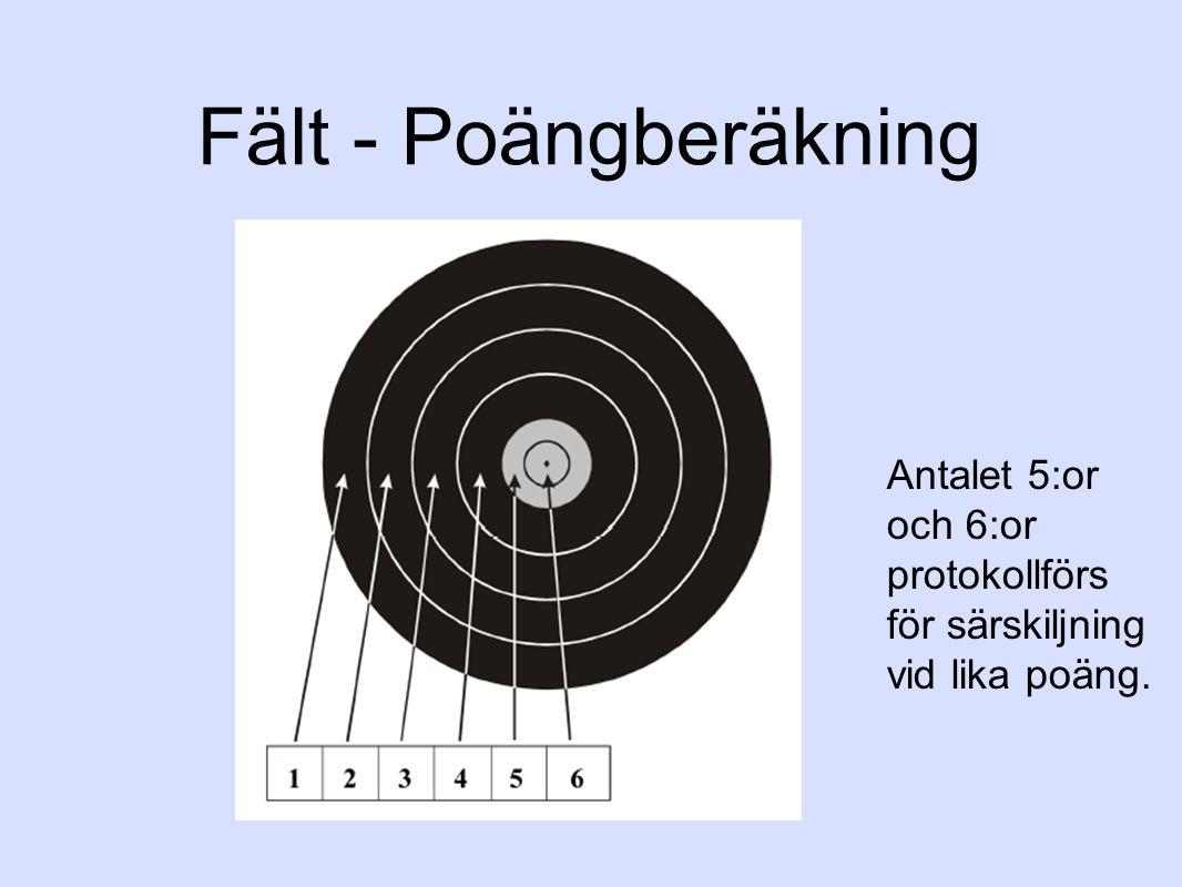 Fält - Poängberäkning Antalet 5:or och 6:or protokollförs för särskiljning vid lika poäng.