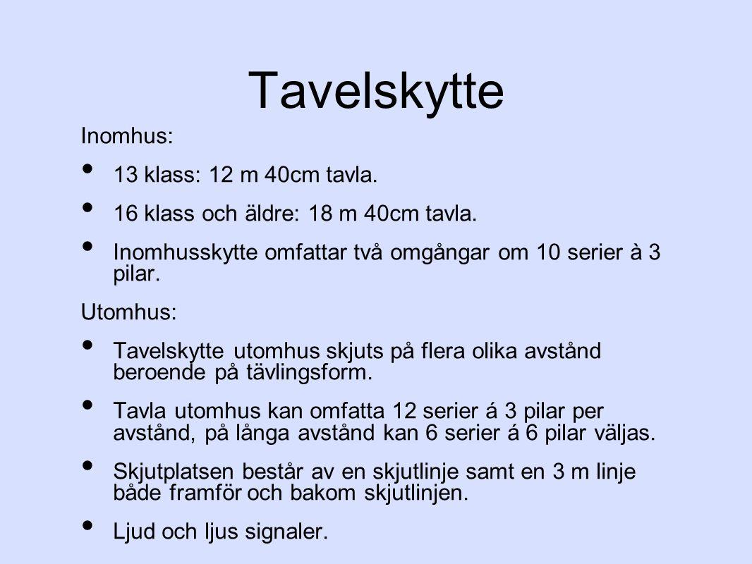 Tavelskytte Inomhus: 13 klass: 12 m 40cm tavla.