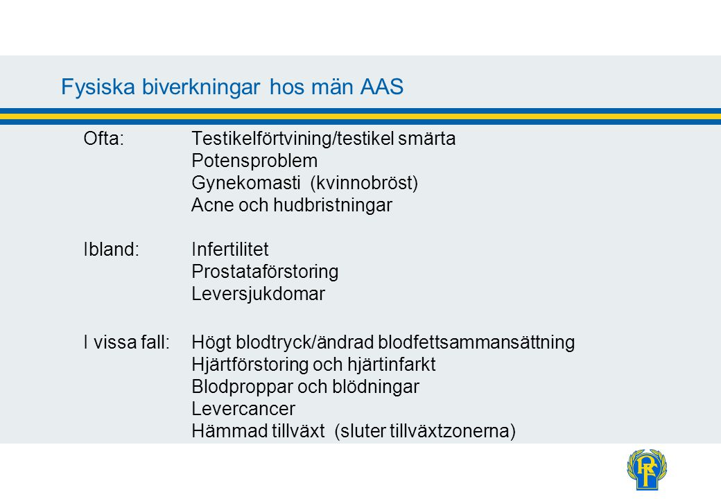 Fysiska biverkningar hos män AAS