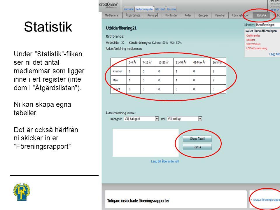 Statistik Under Statistik -fliken ser ni det antal medlemmar som ligger inne i ert register (inte dom i Åtgärdslistan ).