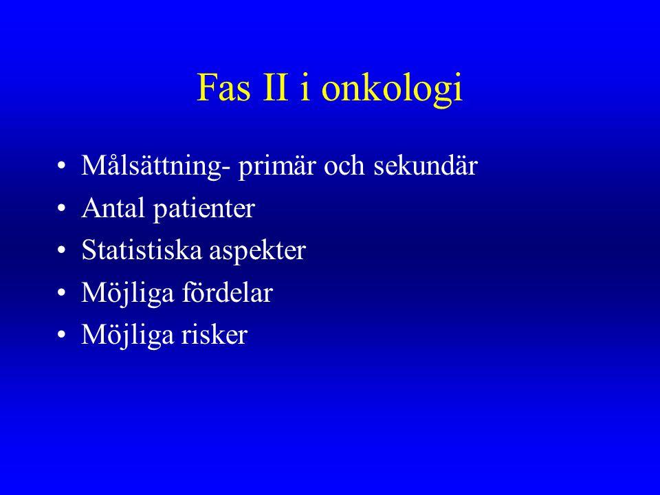 Fas II i onkologi Målsättning- primär och sekundär Antal patienter