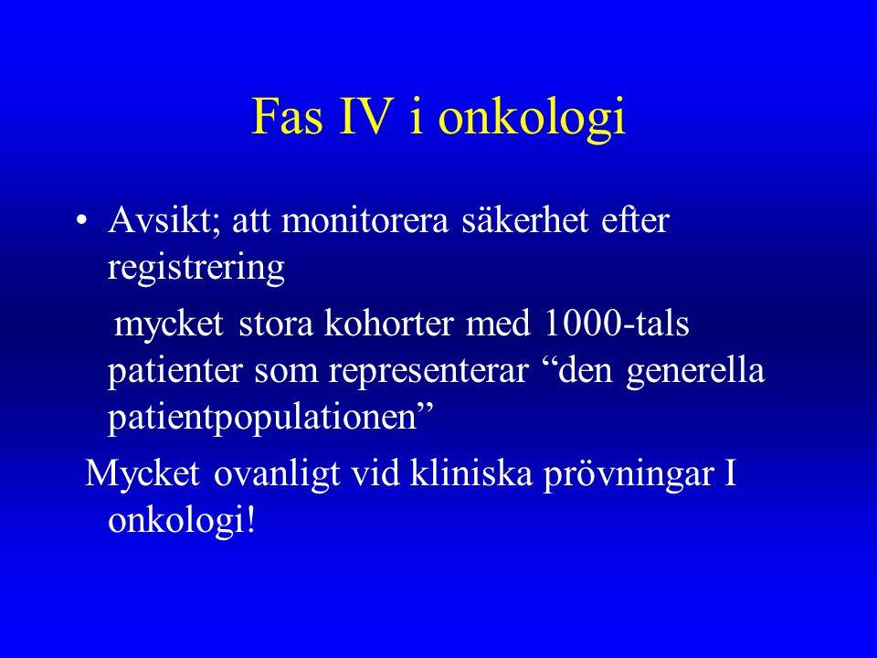 Fas IV i onkologi Avsikt; att monitorera säkerhet efter registrering