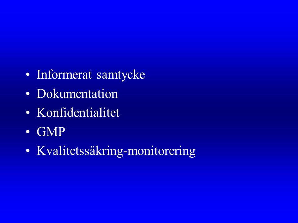 Informerat samtycke Dokumentation Konfidentialitet GMP Kvalitetssäkring-monitorering