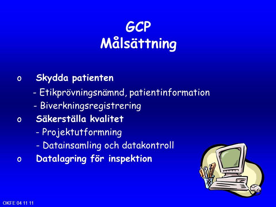 GCP Målsättning Skydda patienten