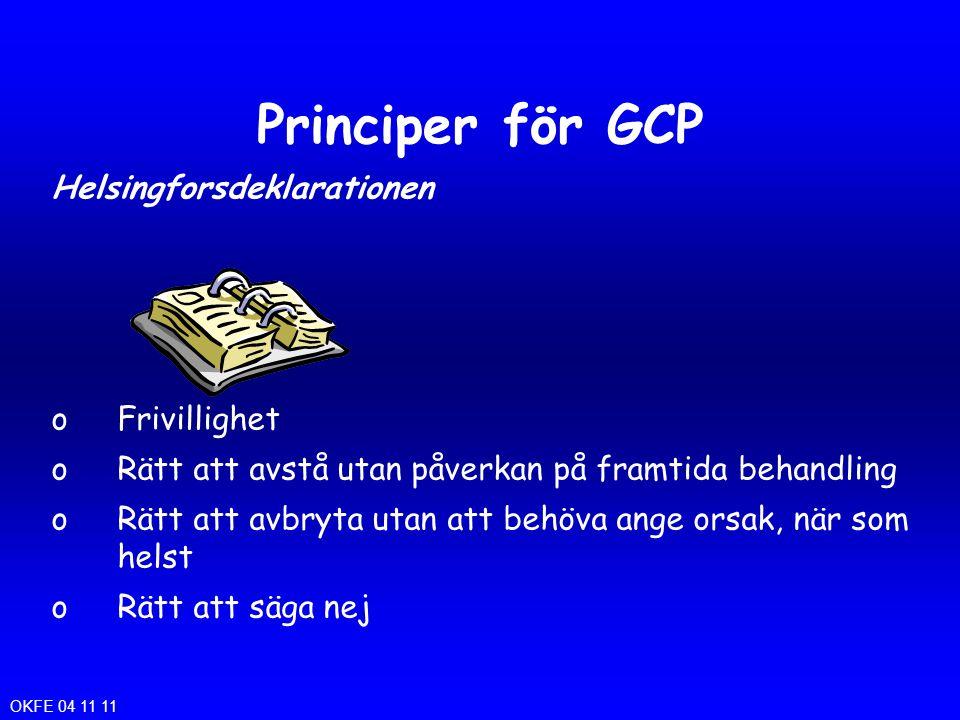 Principer för GCP Helsingforsdeklarationen Frivillighet