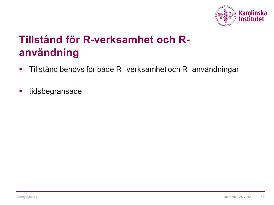 Tillstånd för R-verksamhet och R- användning
