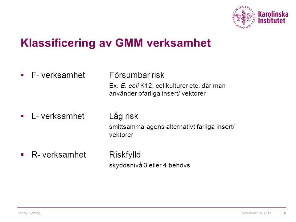 Klassificering av GMM verksamhet