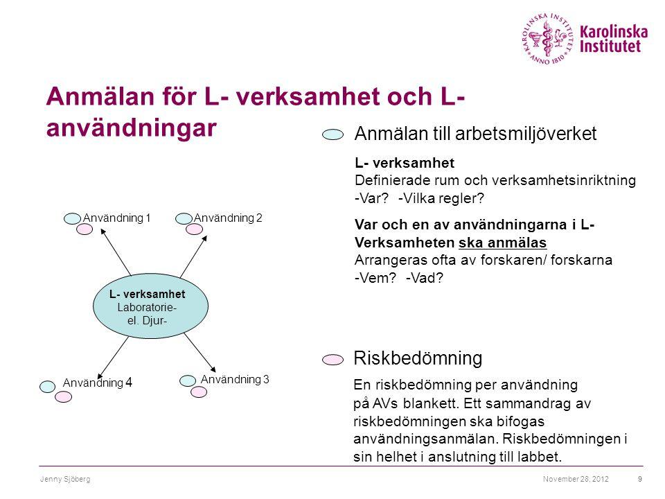 Anmälan för L- verksamhet och L- användningar