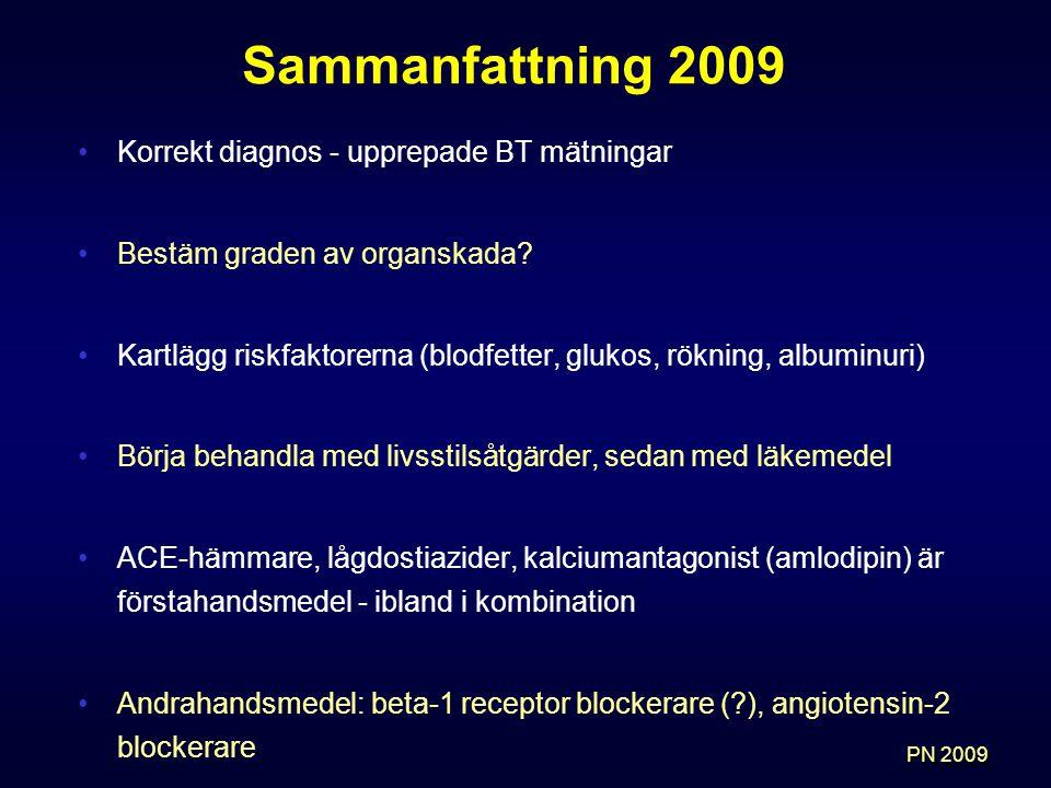 Sammanfattning 2009 Korrekt diagnos - upprepade BT mätningar