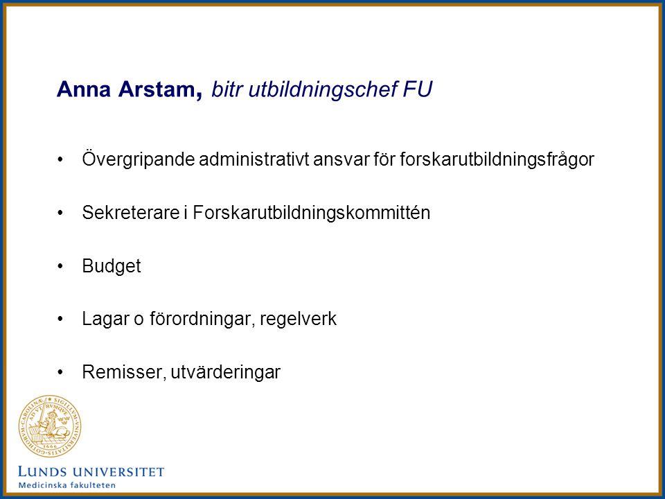 Anna Arstam, bitr utbildningschef FU