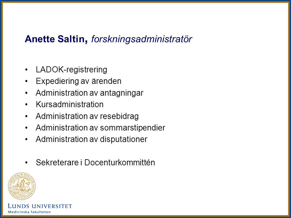Anette Saltin, forskningsadministratör