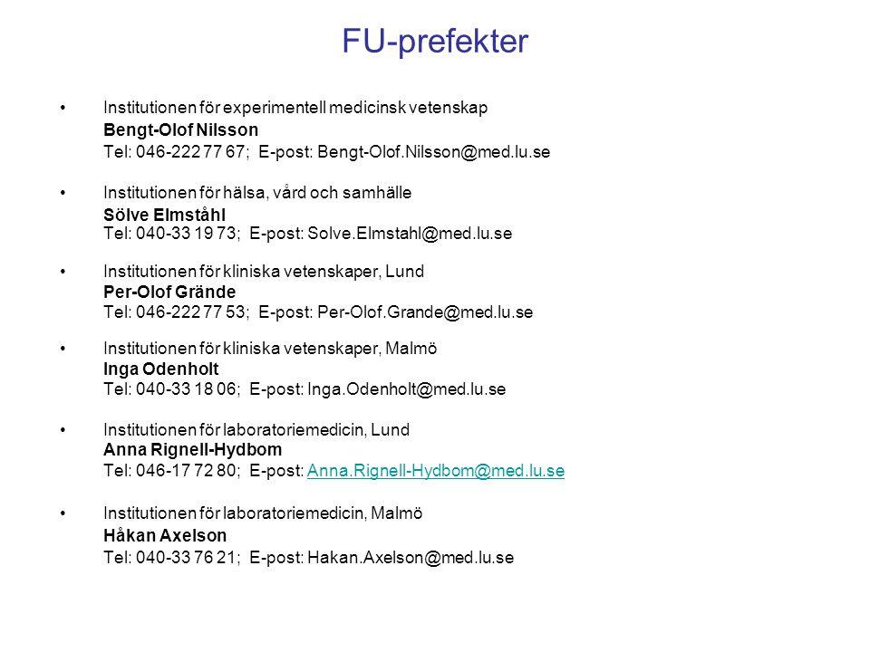 FU-prefekter Institutionen för experimentell medicinsk vetenskap