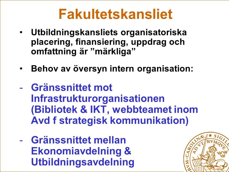 Fakultetskansliet Utbildningskansliets organisatoriska placering, finansiering, uppdrag och omfattning är märkliga