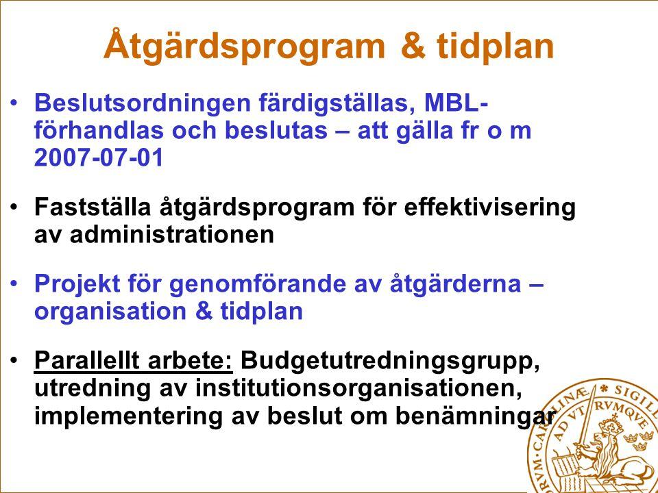 Åtgärdsprogram & tidplan