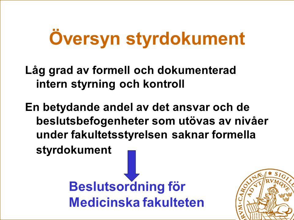 Översyn styrdokument Beslutsordning för Medicinska fakulteten