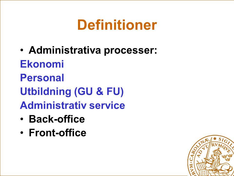 Definitioner Administrativa processer: Ekonomi Personal