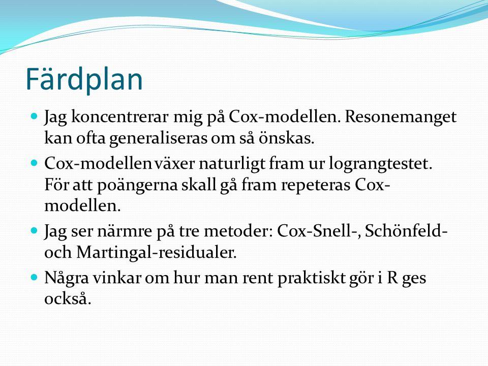 Färdplan Jag koncentrerar mig på Cox-modellen. Resonemanget kan ofta generaliseras om så önskas.