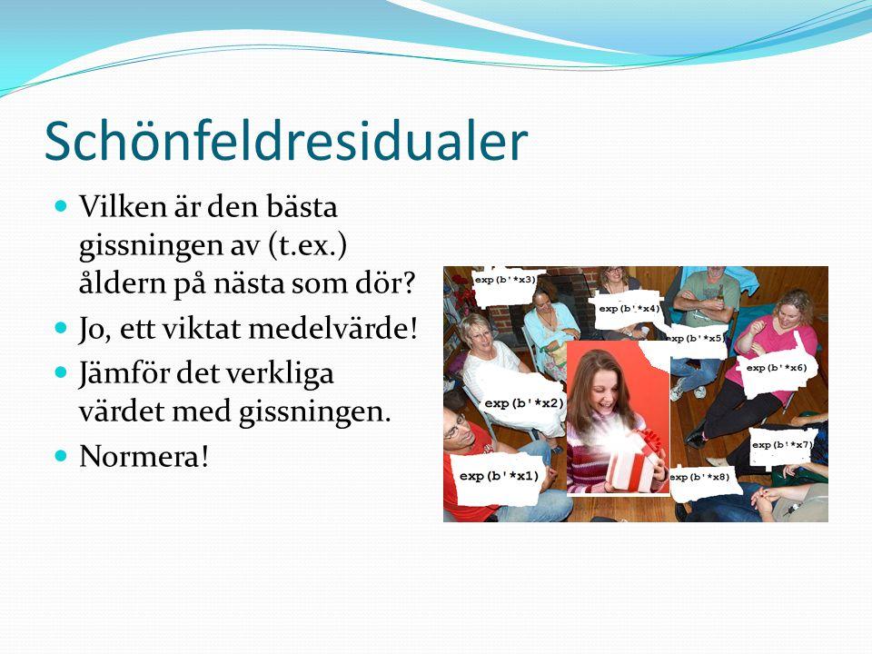 Schönfeldresidualer Vilken är den bästa gissningen av (t.ex.) åldern på nästa som dör Jo, ett viktat medelvärde!