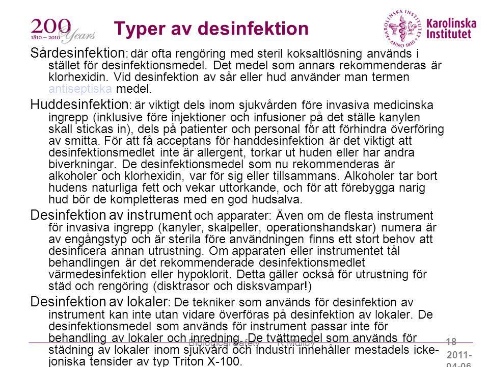 Typer av desinfektion