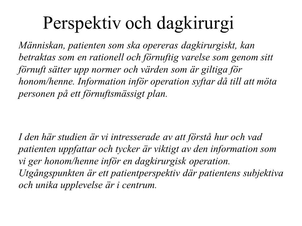 Perspektiv och dagkirurgi