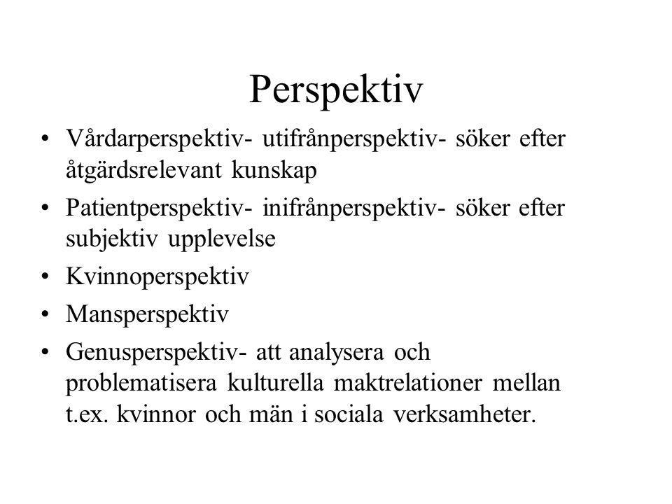 Perspektiv Vårdarperspektiv- utifrånperspektiv- söker efter åtgärdsrelevant kunskap.
