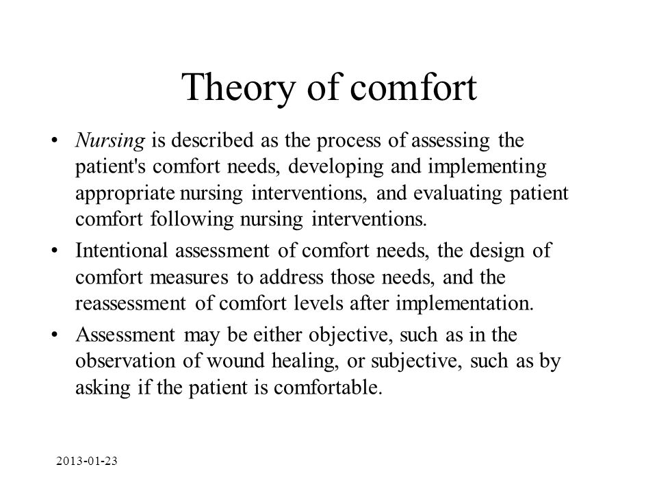 Theory of comfort